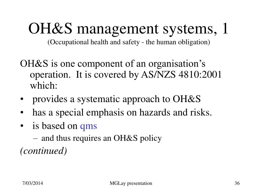 OH&S management systems, 1