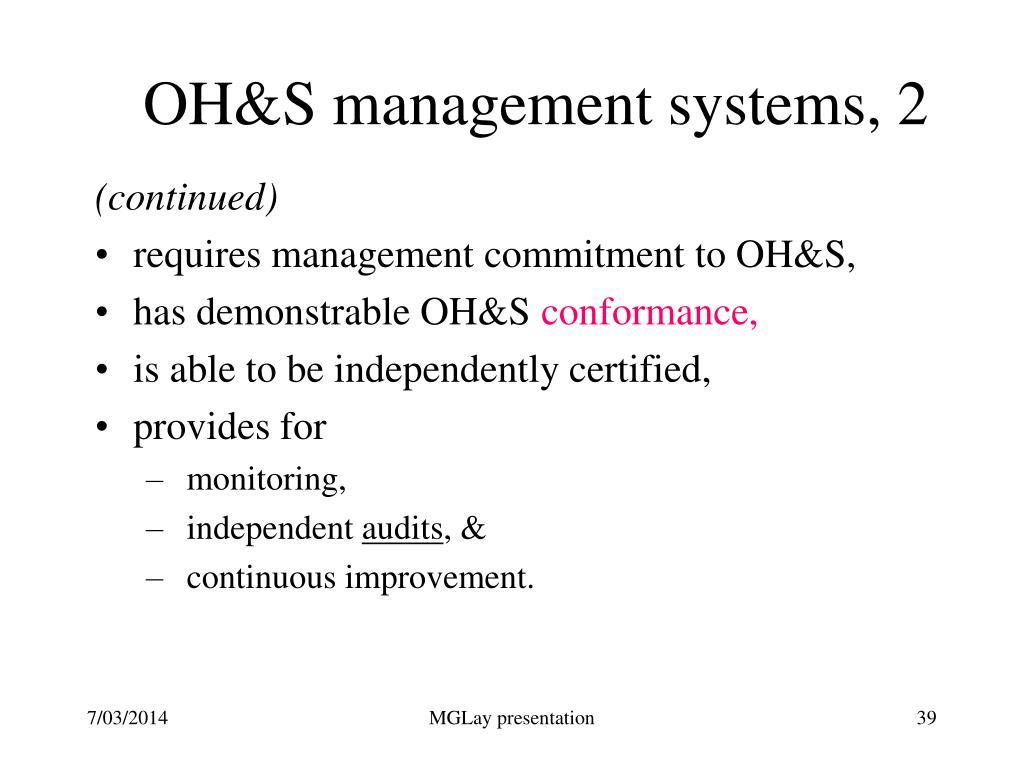 OH&S management systems, 2