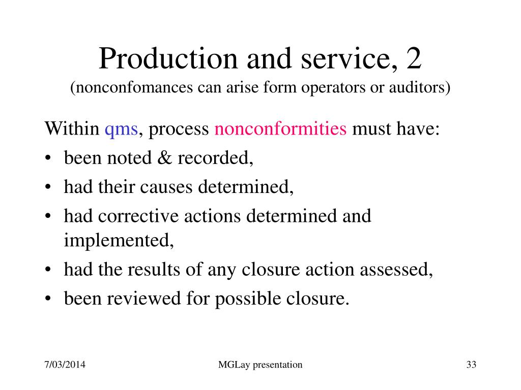 Production and service, 2