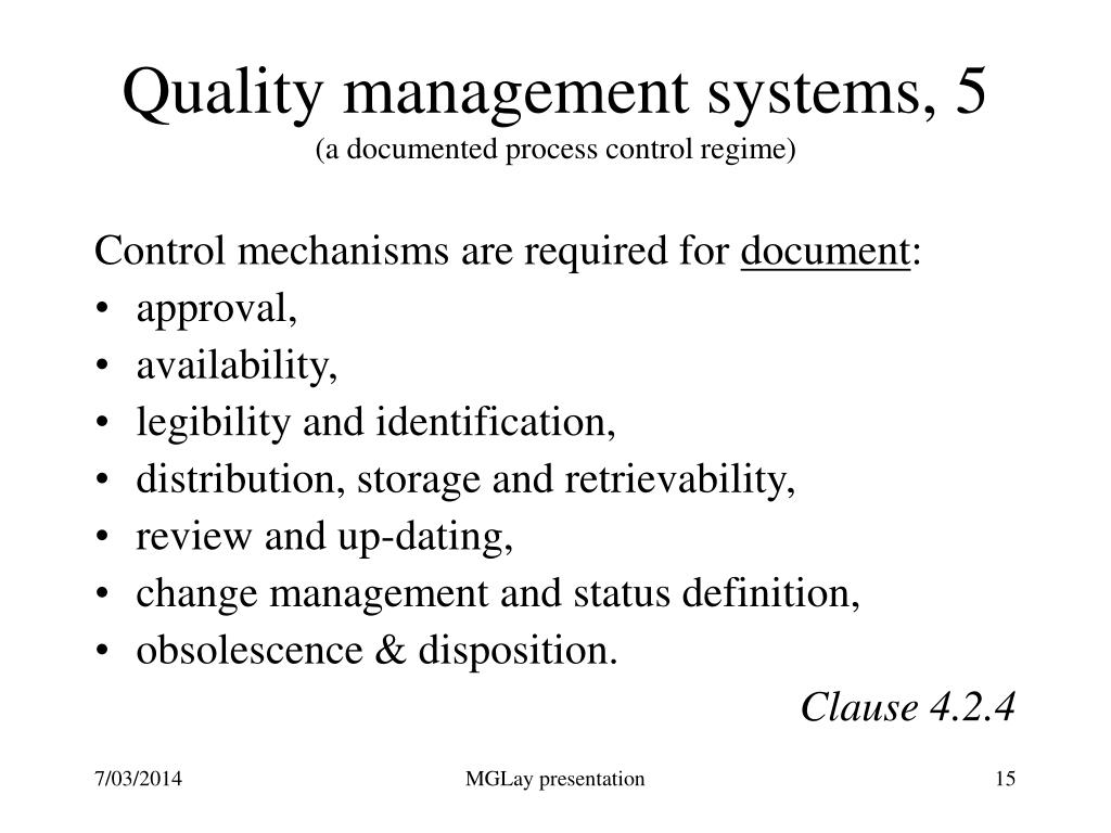 Quality management systems, 5