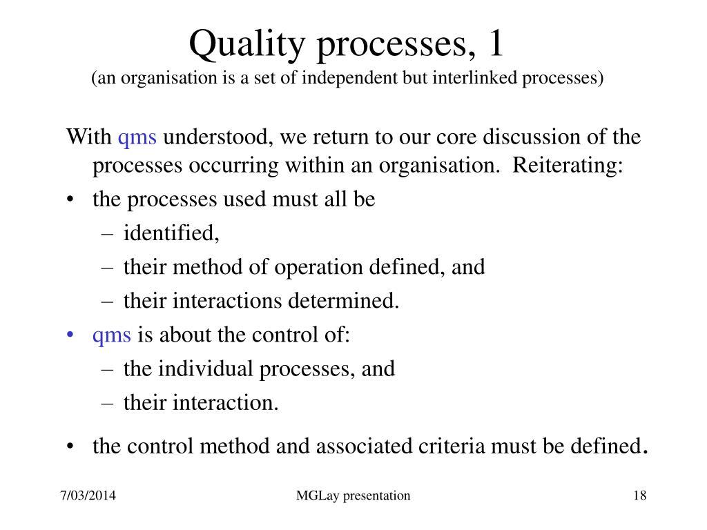 Quality processes, 1