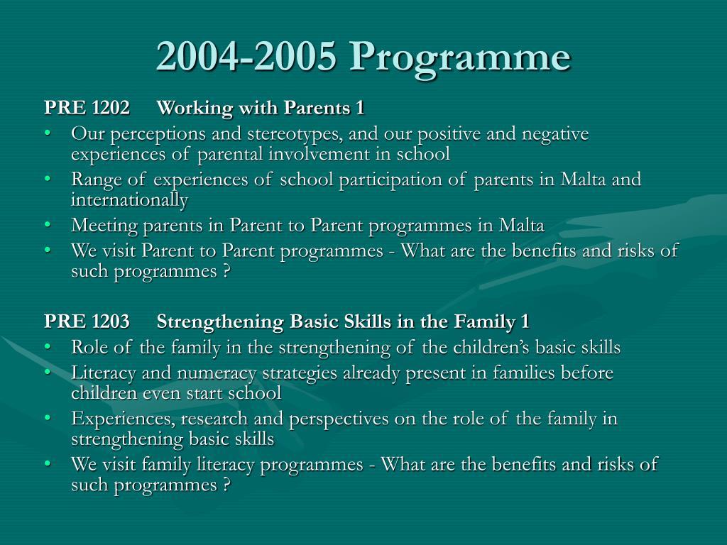 2004-2005 Programme
