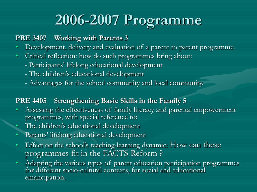 2006-2007 Programme