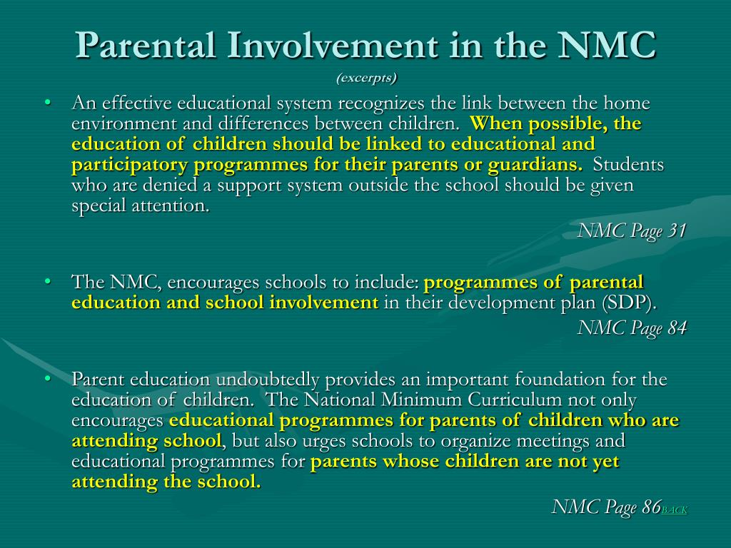 Parental Involvement in the NMC