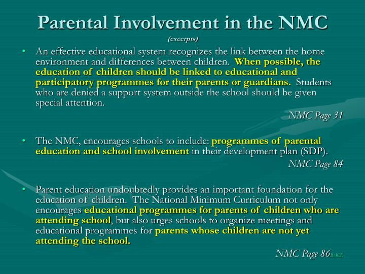 Parental involvement in the nmc excerpts