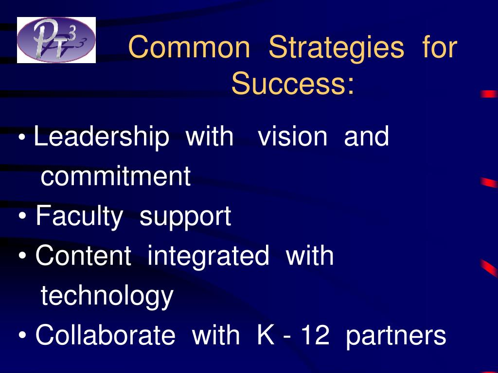 Common  Strategies  for  Success: