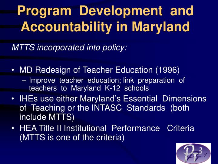Program development and accountability in maryland