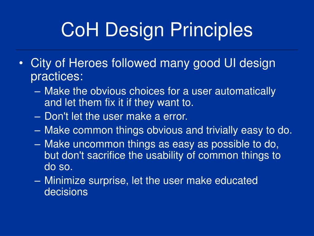 CoH Design Principles