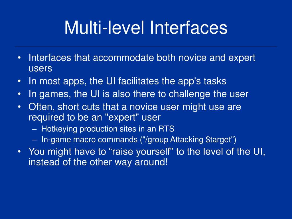 Multi-level Interfaces