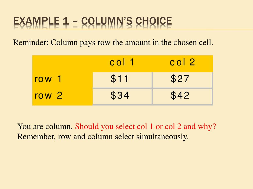 Example 1 – Column's choice