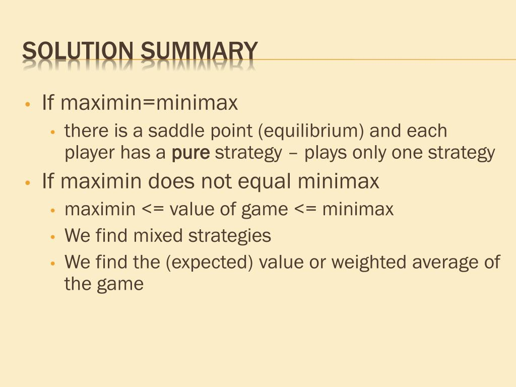 If maximin=minimax