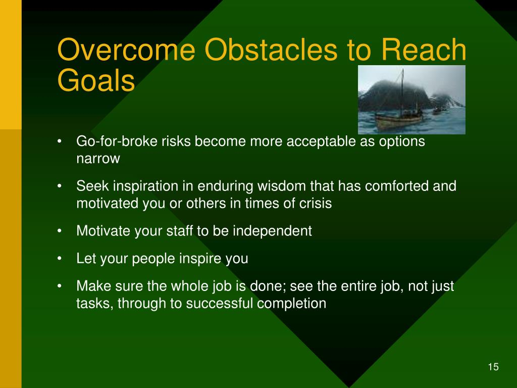 Overcome Obstacles to Reach Goals