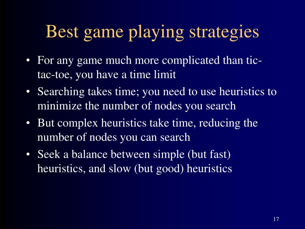 Best game playing strategies
