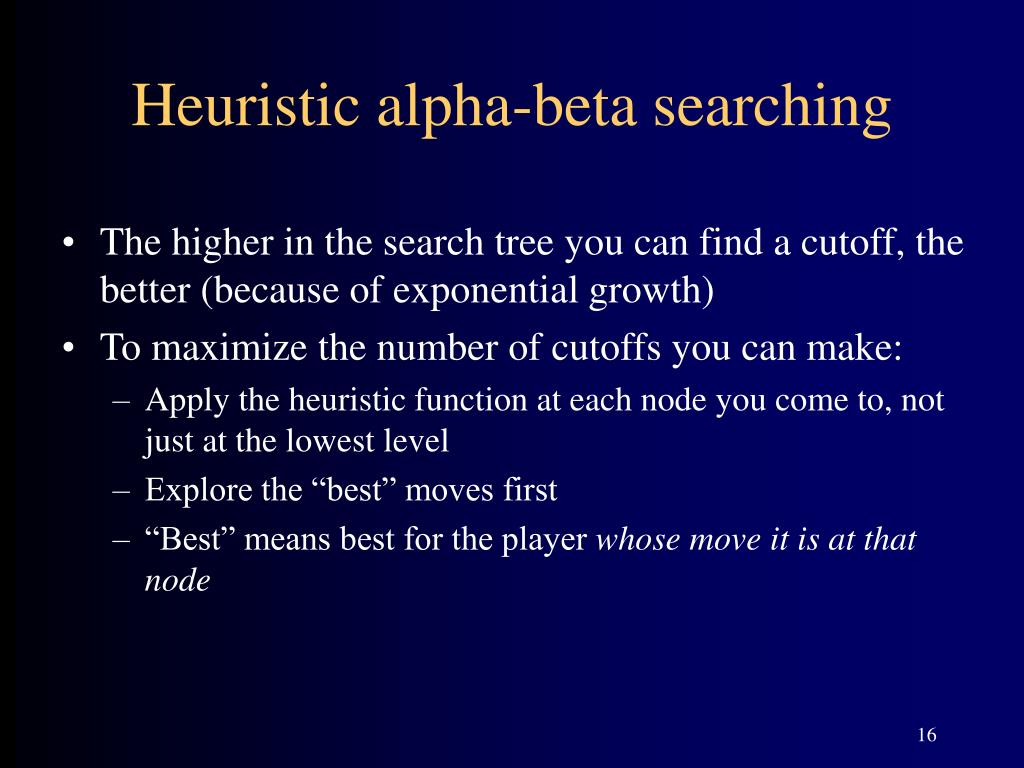 Heuristic alpha-beta searching