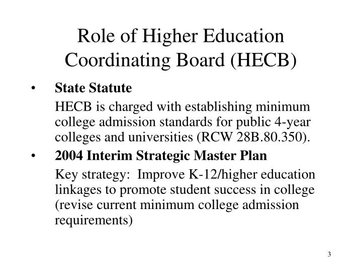 Role of higher education coordinating board hecb