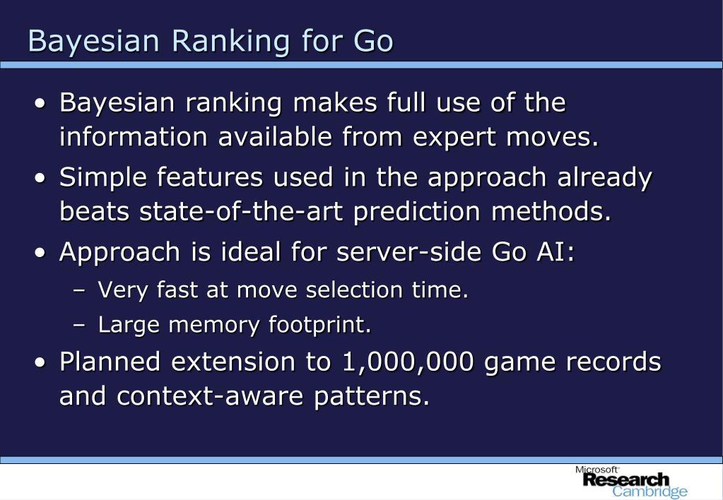 Bayesian Ranking for Go