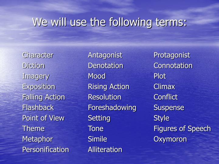 We will use the following terms
