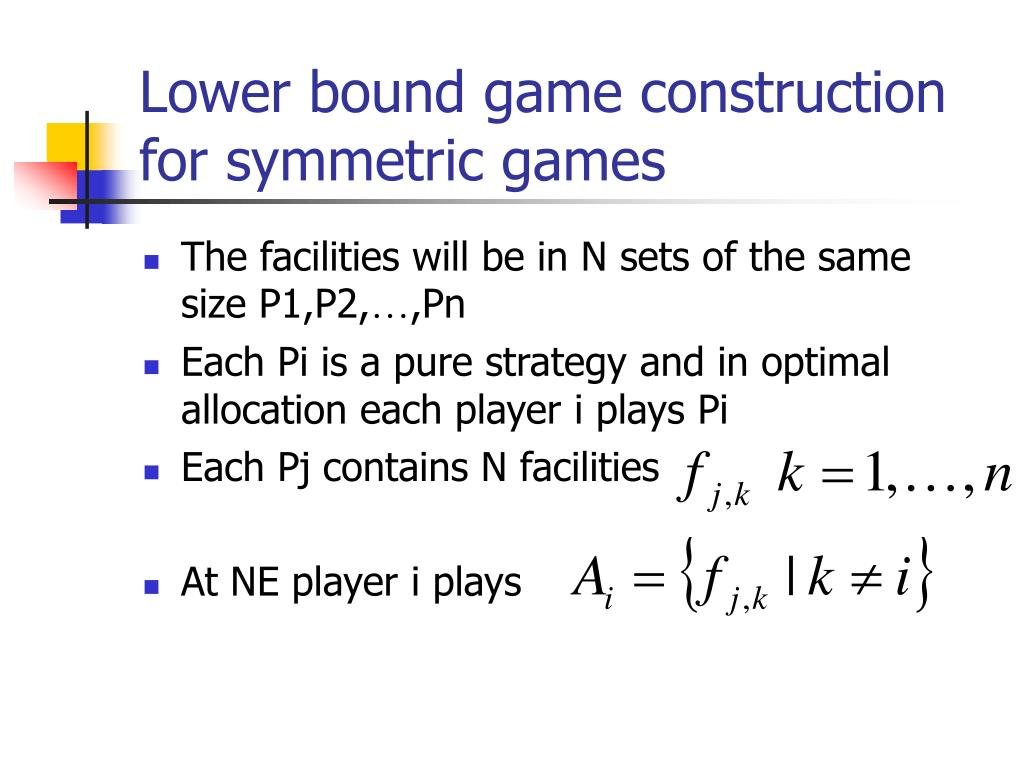 Lower bound game construction for symmetric games