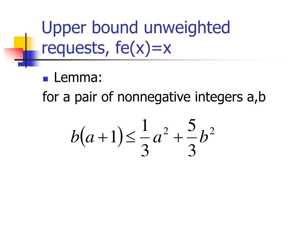 Upper bound unweighted requests, fe(x)=x