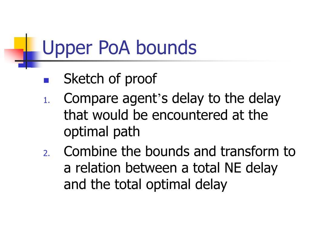 Upper PoA bounds