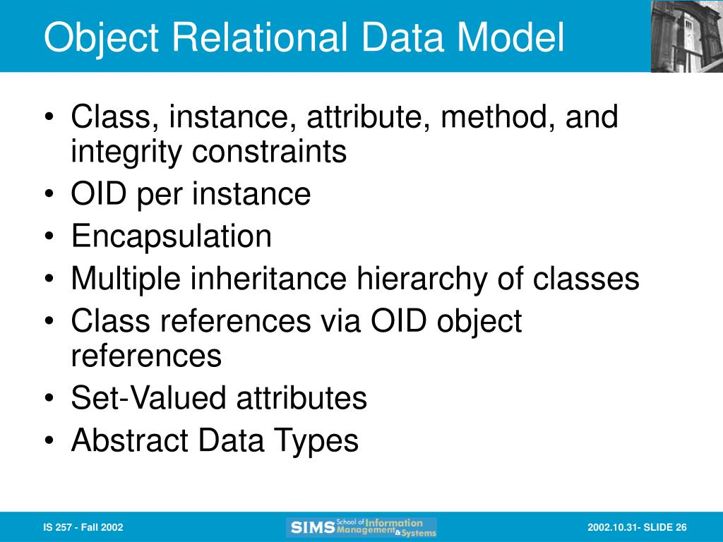 Object Relational Data Model