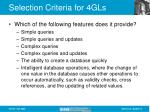 selection criteria for 4gls15