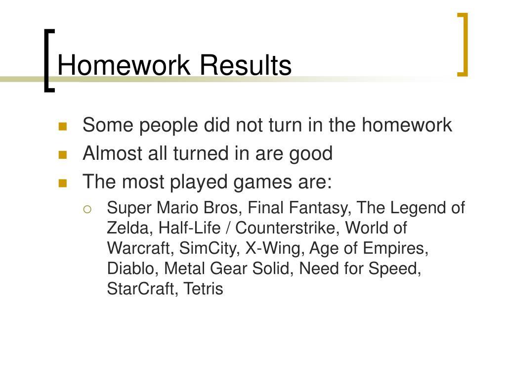 Homework Results