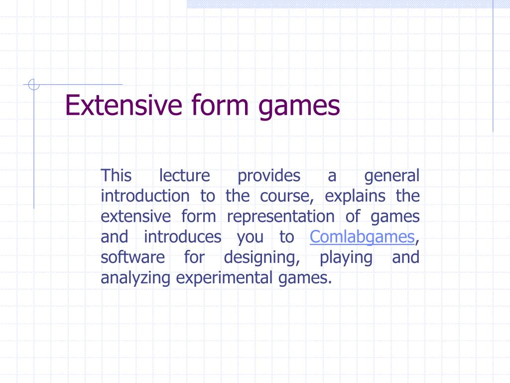 Extensive form games