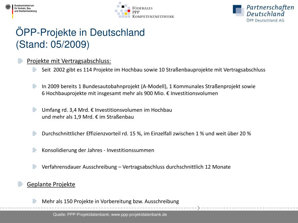 ÖPP-Projekte in Deutschland                                                   (Stand: 05/2009)