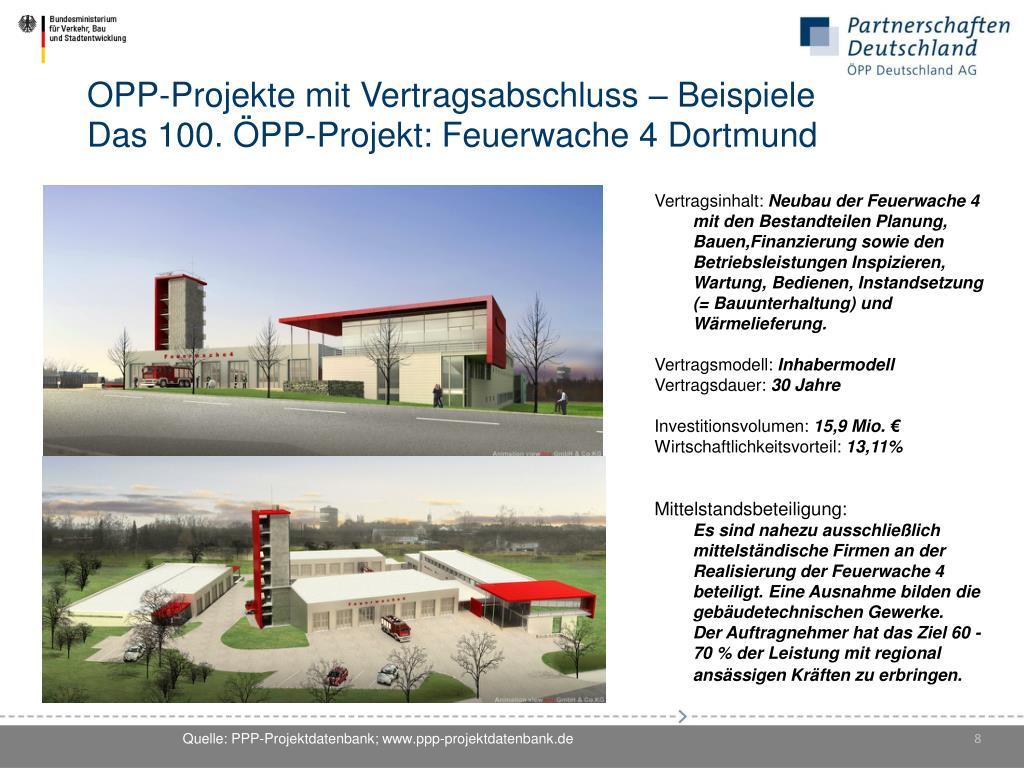 ÖPP-Projekte mit Vertragsabschluss – Beispiele