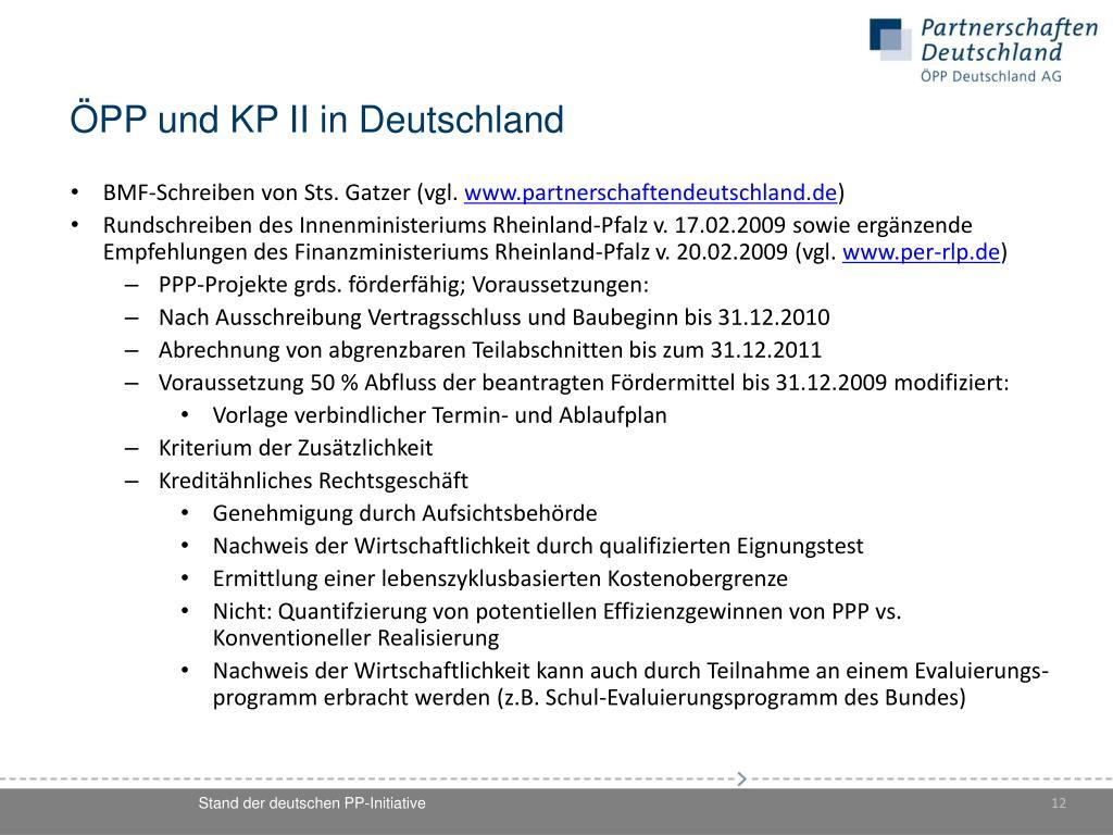 ÖPP und KP II in Deutschland