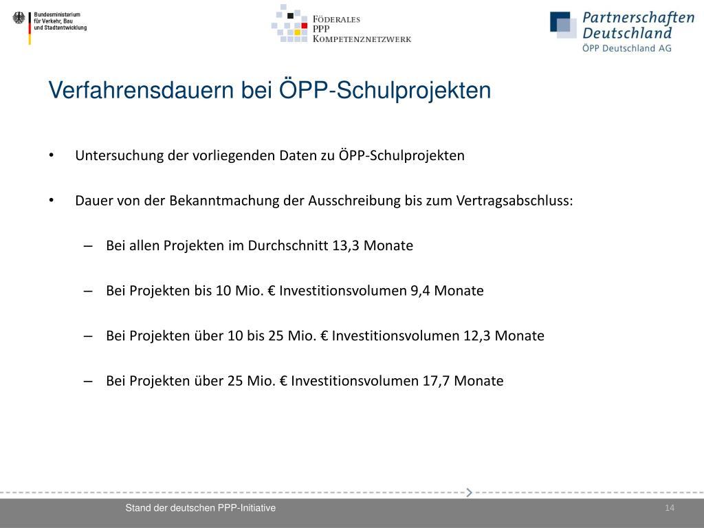 Verfahrensdauern bei ÖPP-Schulprojekten