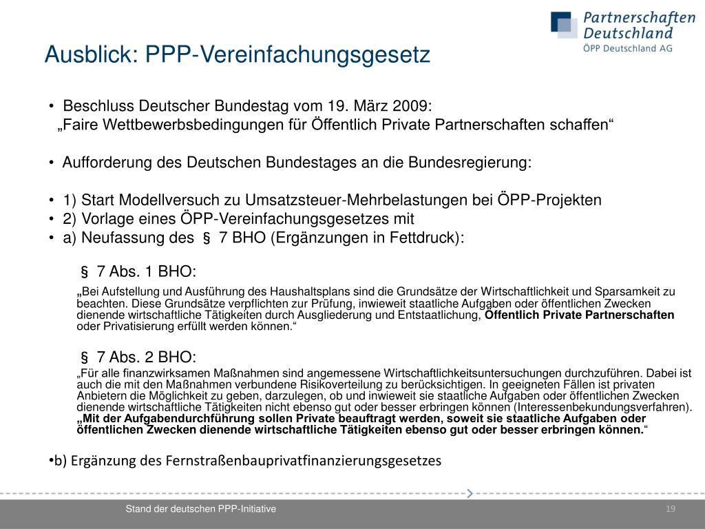 Ausblick: PPP-Vereinfachungsgesetz