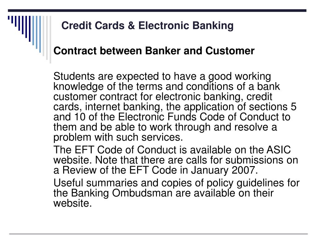 Credit Cards & Electronic Banking