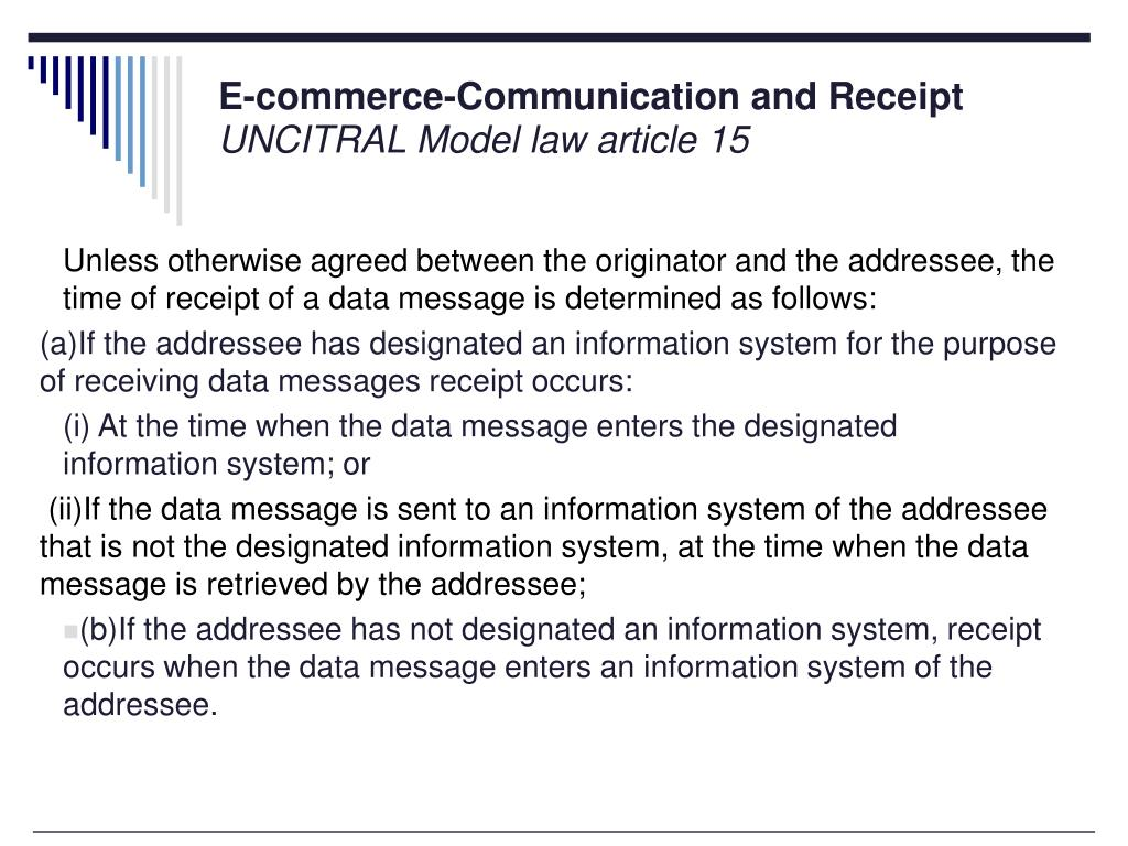 E-commerce-Communication and Receipt