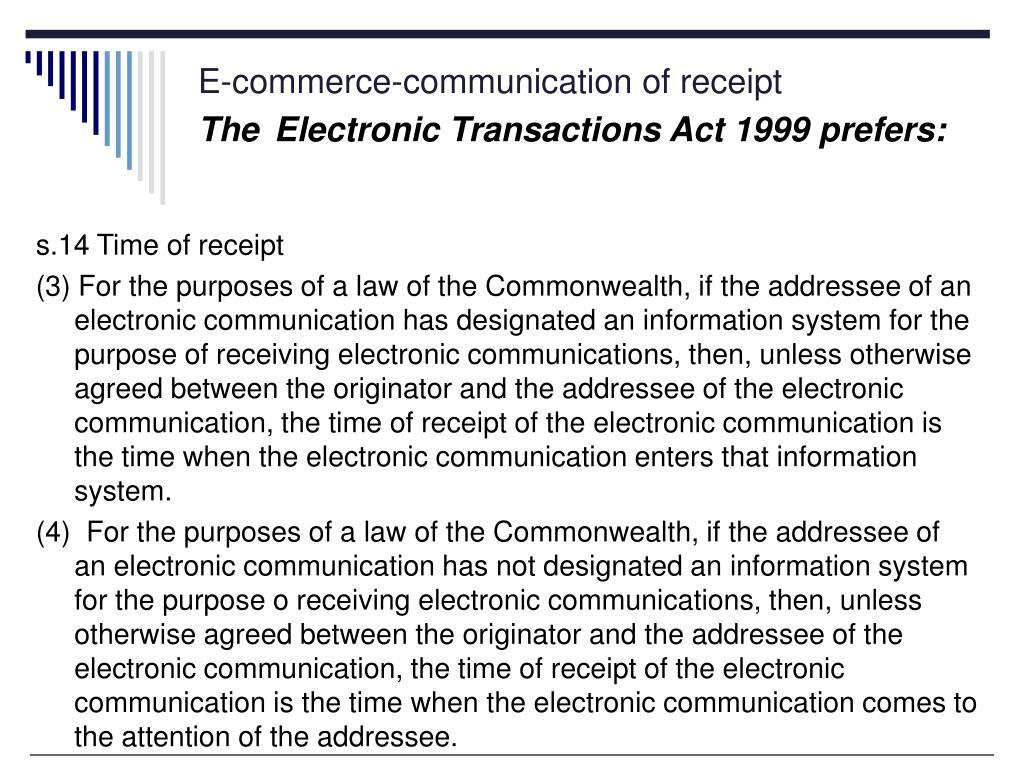 E-commerce-communication of receipt