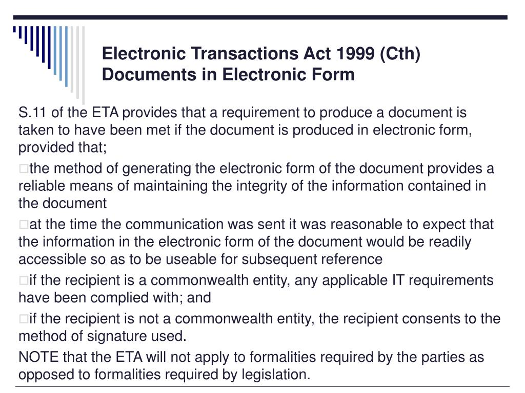 Electronic Transactions Act 1999 (Cth)