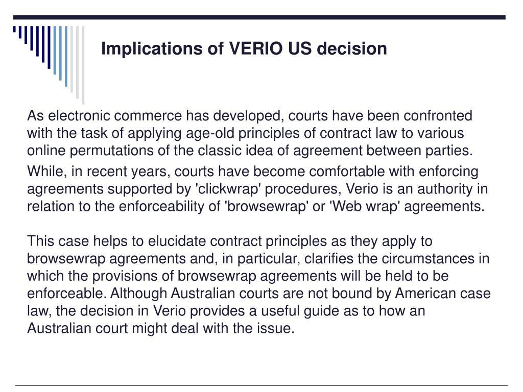 Implications of VERIO US decision