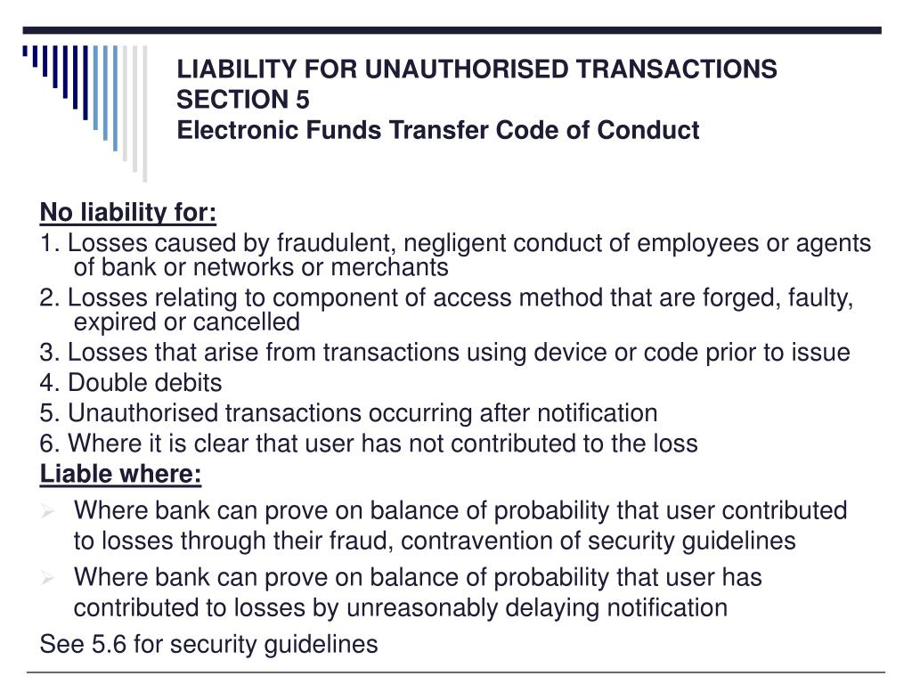 LIABILITY FOR UNAUTHORISED TRANSACTIONS