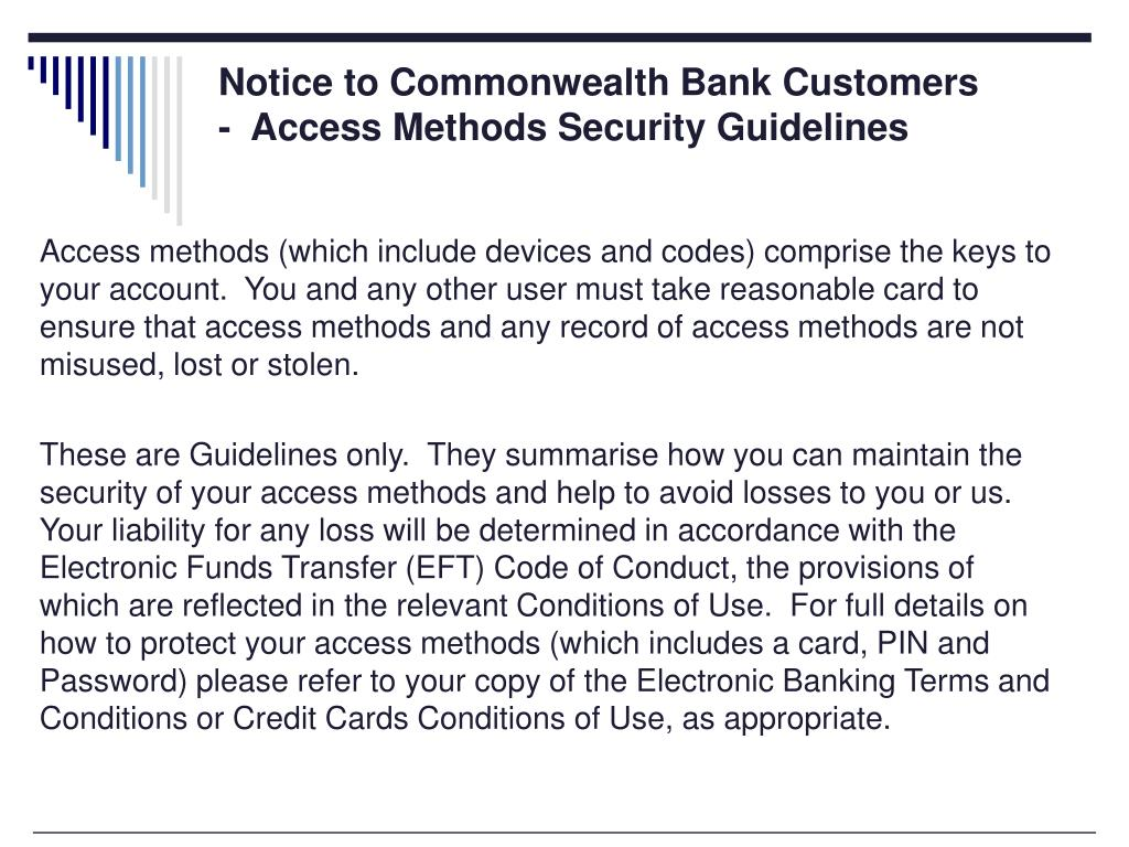 Notice to Commonwealth Bank Customers