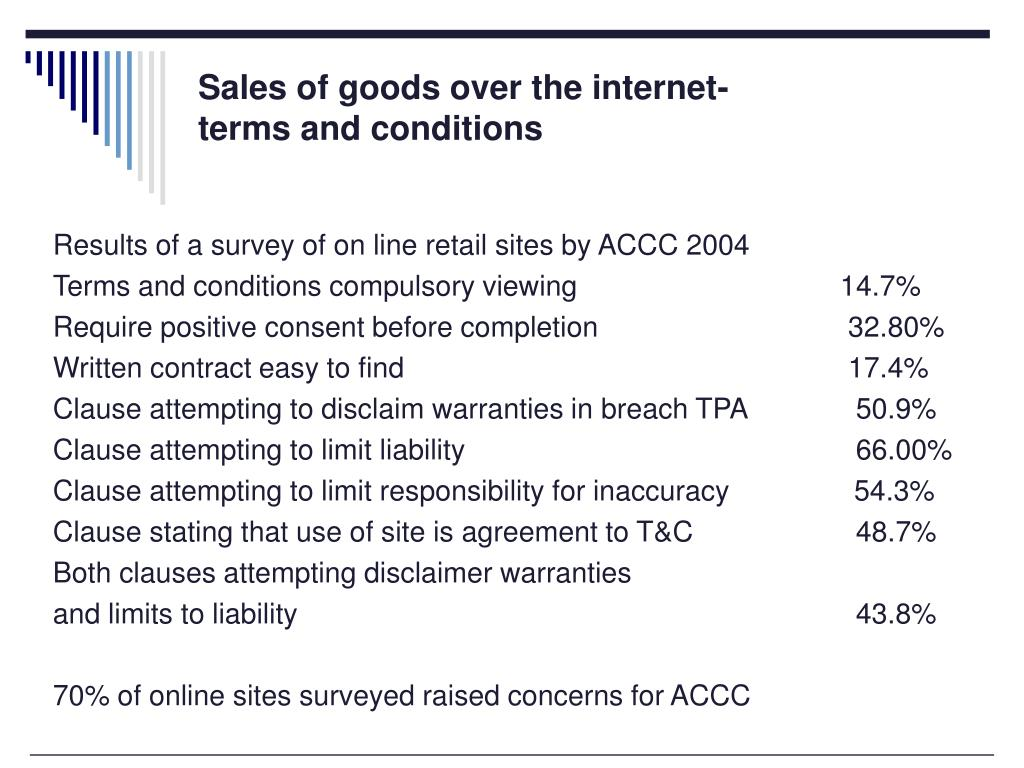 Sales of goods over the internet-