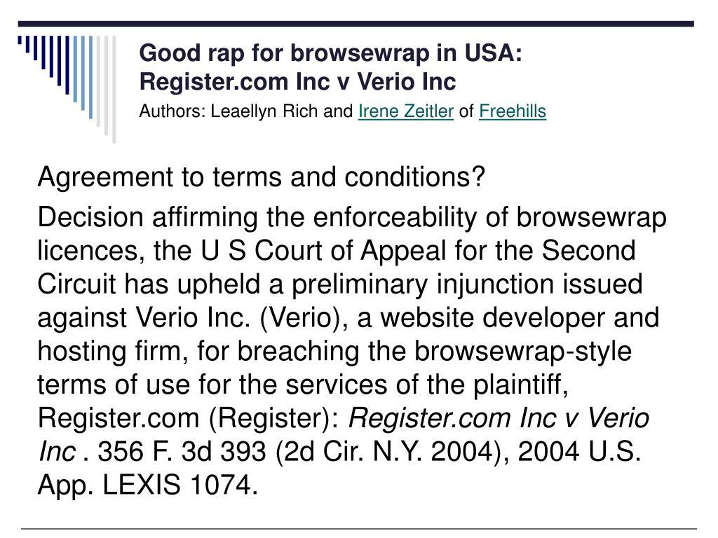 Good rap for browsewrap in USA: Register.com Inc v Verio Inc