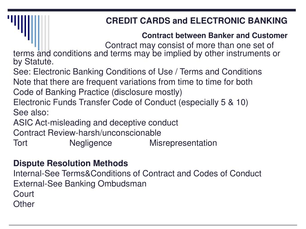 CREDIT CARDS and ELECTRONIC BANKING