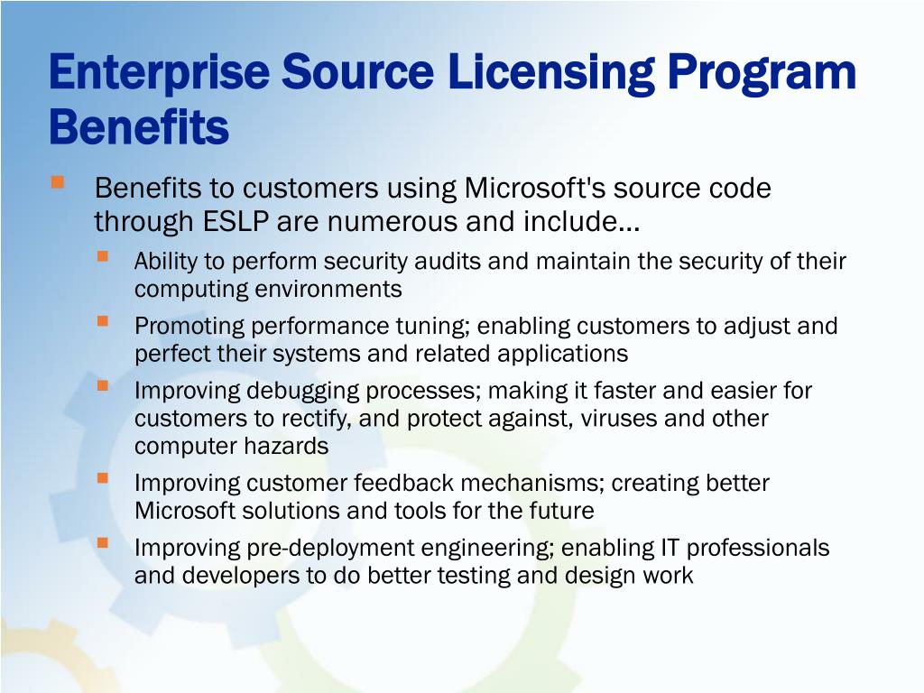 Enterprise Source Licensing Program Benefits