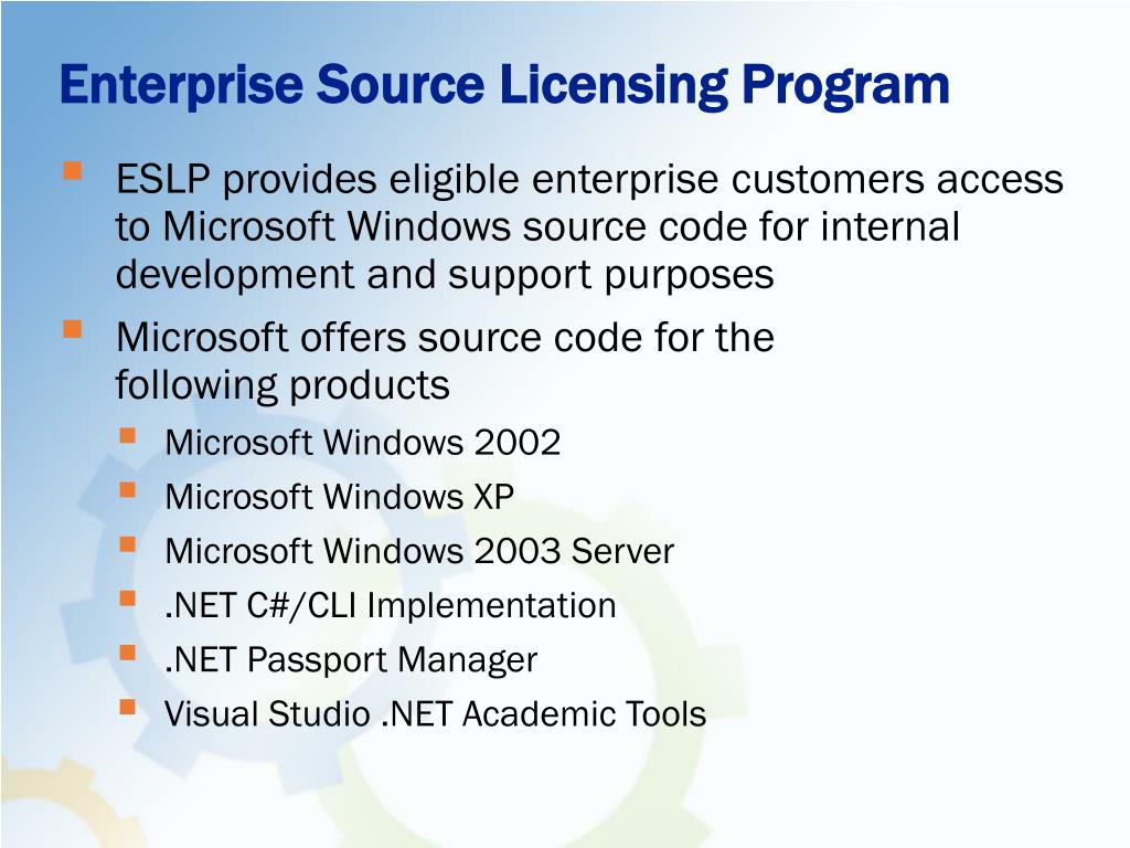 Enterprise Source Licensing Program