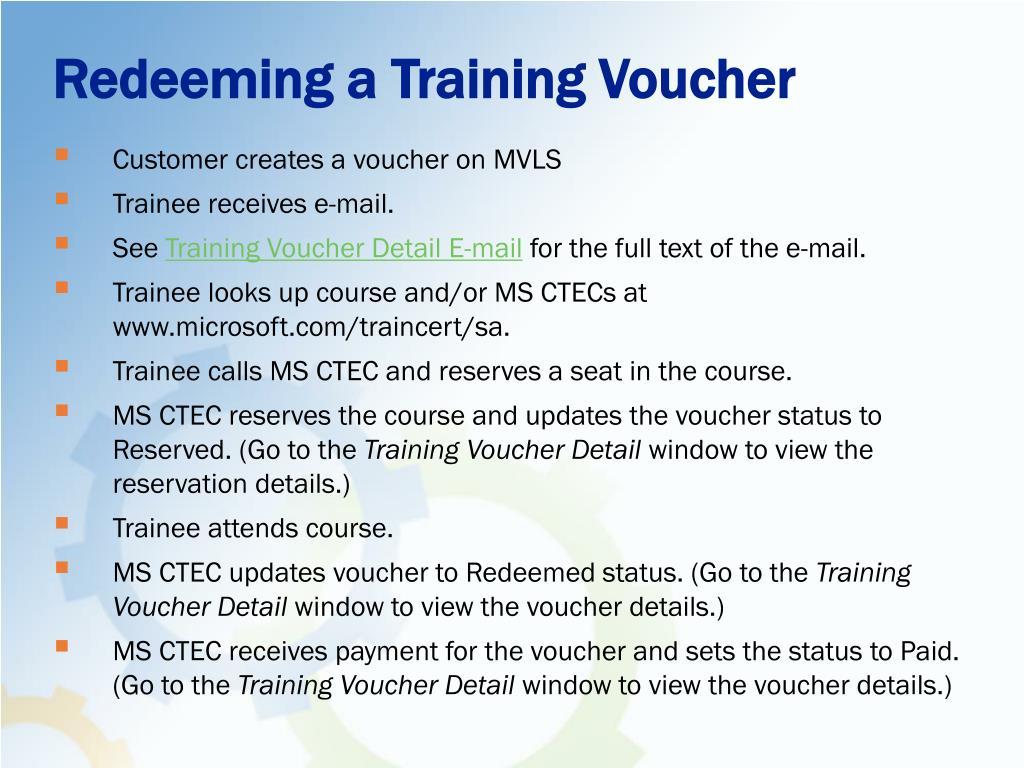Redeeming a Training Voucher
