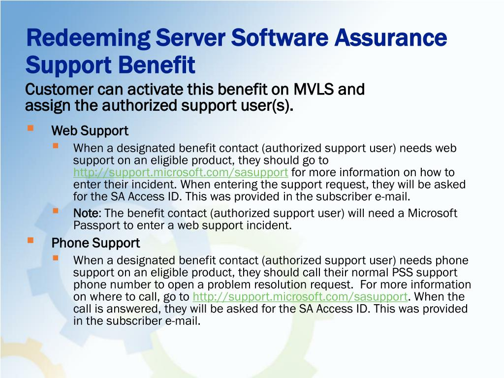 Redeeming Server Software Assurance Support Benefit
