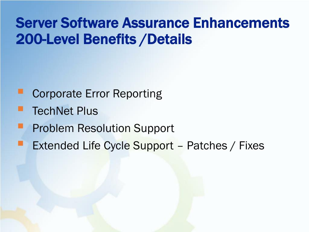 Server Software Assurance Enhancements