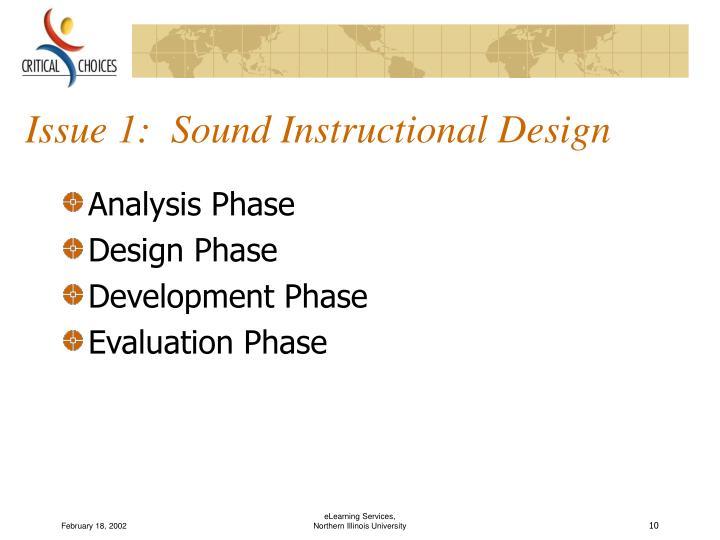 Issue 1:  Sound Instructional Design