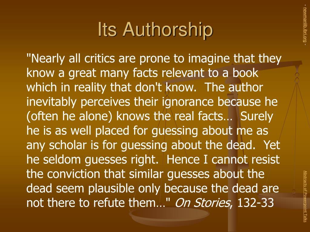 Its Authorship